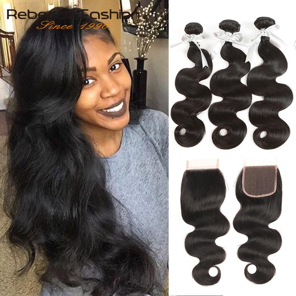 Rebecca Brazilian Body Wave 3 Bundles With Closure Remy Human Hair Bundles With Closure Body Wave Bundles With Closure