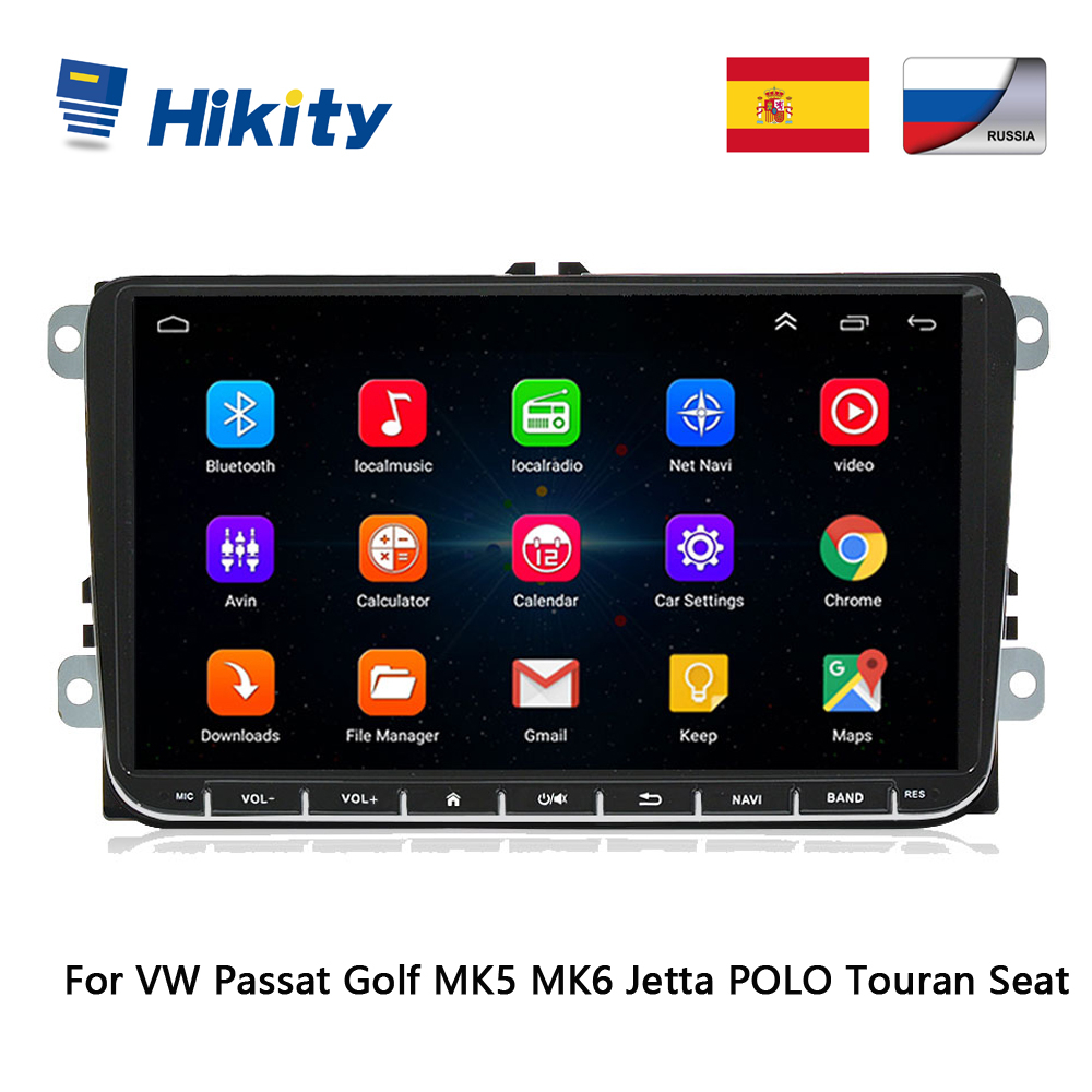 Hikity 2 Din 9 Android Car GPS Navigation for VW Passat Golf MK5 MK6 Jetta POLO Touran Seat CANBUS WIFI Mirror Link Autoradio