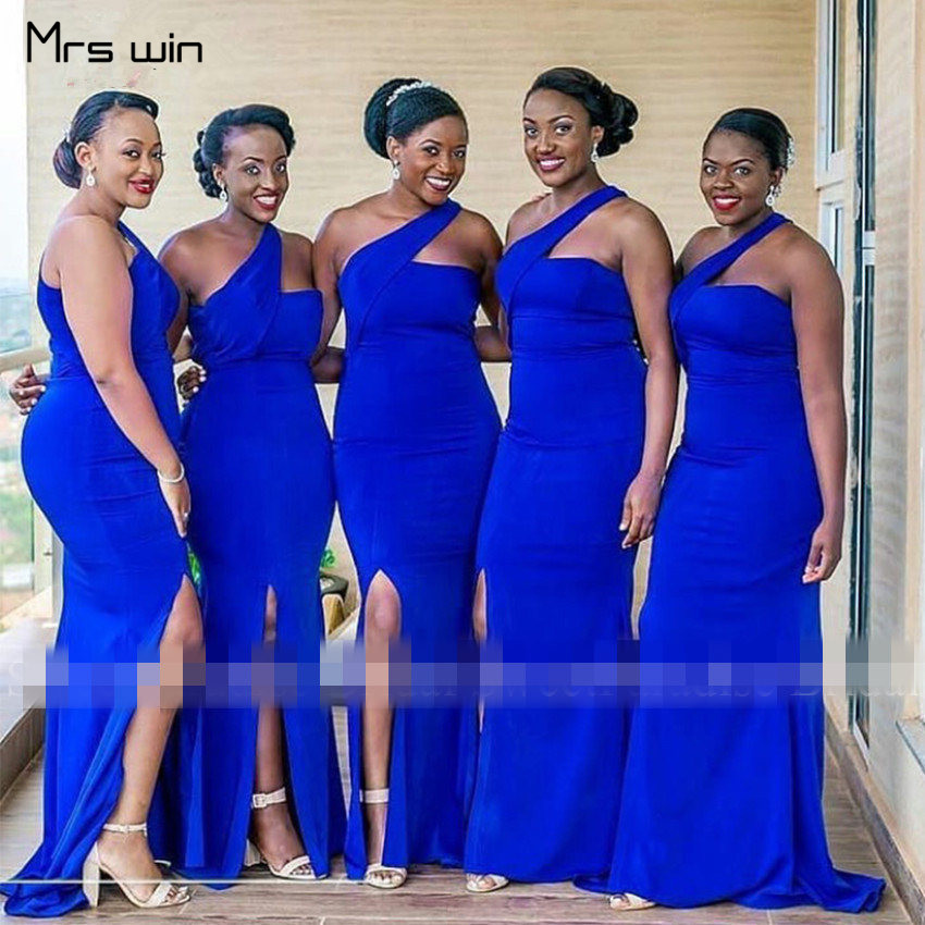 Mrs win   Bridesmaid     Dresses   Elegant One Shoulder Wedding Guest   Dress   Royal Blue Plus Size Long Vestido Madrinha 2020 HR102