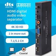 Konwerter Audio HDMI konwerter HDMI na VGA 5.1CH Dolby AC3 DTS z optycznym złączem koncentrycznym 3.5mm złącze vga MHL HD320