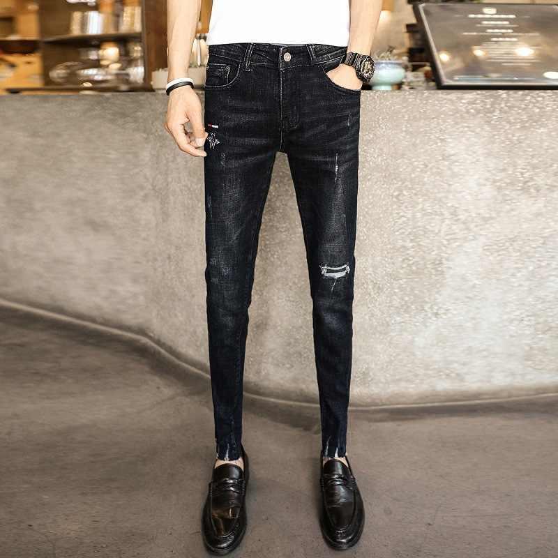 Verano 2020 Moda Street Cowboy Jeans Pantalones Vaqueros Para Hombres Pantalones Con Diseno Rasgado Bordado Pantalones Slim Pies Thin Beggar Adolescentes Harem Pantalones Pantalones Vaqueros Aliexpress
