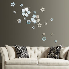 Acrylic Mirror Wall Sticker Petals Flowers Round DIY Heart-Shape Flower Mirror Surface Wall Decals 3D Removable Art Stickers