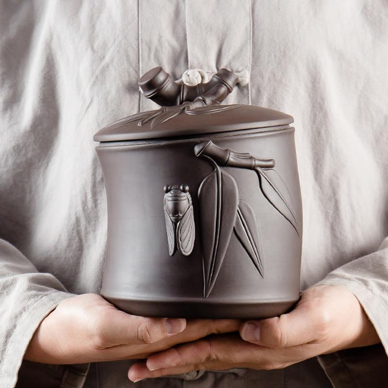 Tea Caddy Zisha Puer Tea Tea Storage Box Tea Jar Candy Jar Container Purple Sand Storage Box for Home Use Small Storage Chests
