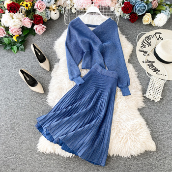 Fitaylor New Winter Knitted 2 Pieces Set Women Sexy V Neck Soft Pullover Sweater And Pleated Skirt Female Sweater Suits Set 1
