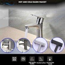 DQOK Gebürstet Nickel Bad Becken Armaturen Kalt/Heiß Mixer Becken Waschbecken Tap Schwarz Wasser Wasserhahn Bad Zubehör