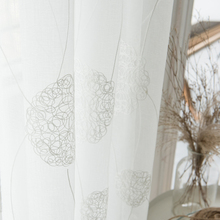 White Foral Embroidered Sheer Curtains For Windows Living Room Modern Tulle Drapes Bedroom Voile Curtain Nest Design in Kitchen cheap LISM Perspective Left and Right Biparting Open Ceiling Installation X043 French Window Woven Office hotel hospital Cafe