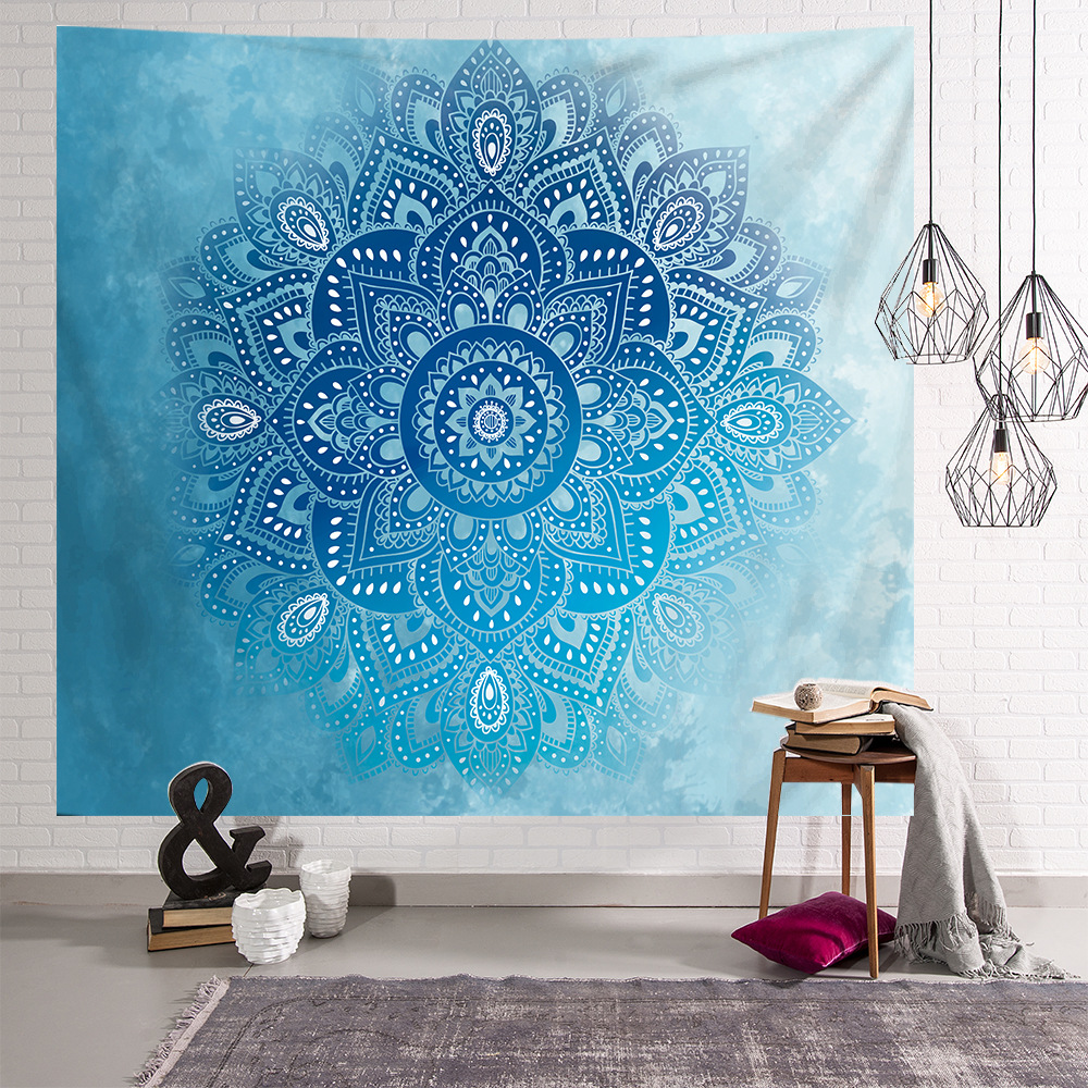 Mandala Elephant Tapestry Wall Hanging Polyester India Mandala Luo Xia Lace Wall Blanket Cloth Home Decoration Small 95x73cm