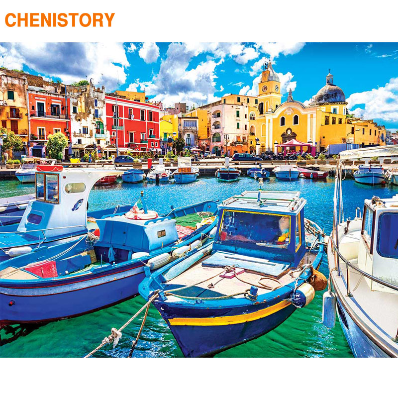 CHENISTORY Frame Boat DIY Painting By Numbers Modern Landscape Wall Art Picture By Numbers Canvas Paint For Home Decors 60x75cm