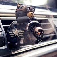 Perfume de coche de aromaterapia con hélice giratoria, ambientador, salida de fragancia, oso, accesorios para coche