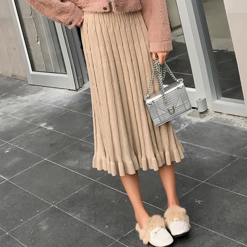 2019 Autumn And Winter New Style Long Skirts Yarn Skirt One-step Skirt Women's Mid-length Hong Kong Flavor CHIC Sheath Knitted S