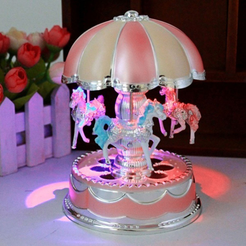Fashion New Music Box 2021 Children Girl Led Carousel Light Music Box Christmas Birthday Gift Music Toy Pink Cute