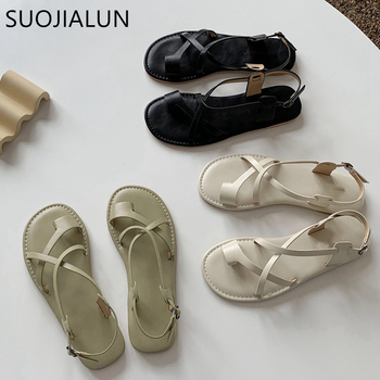 SUOJIALUN Women Sandals 2020 Summer Bohemia Comfortable Ladies Shoes Beach Gladiator Slides Flip Flop Casual Female Flat Sandals