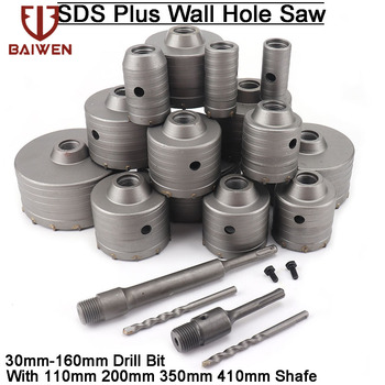 30-160mm SDS Plus Wall Impact Hole Saw Drill Bit Cutter Tools with Shaft Concrete Cement Stone Hole Opener Electric Hammer Tool 500mm sds max electric hammer impact drill bit total length 500mm