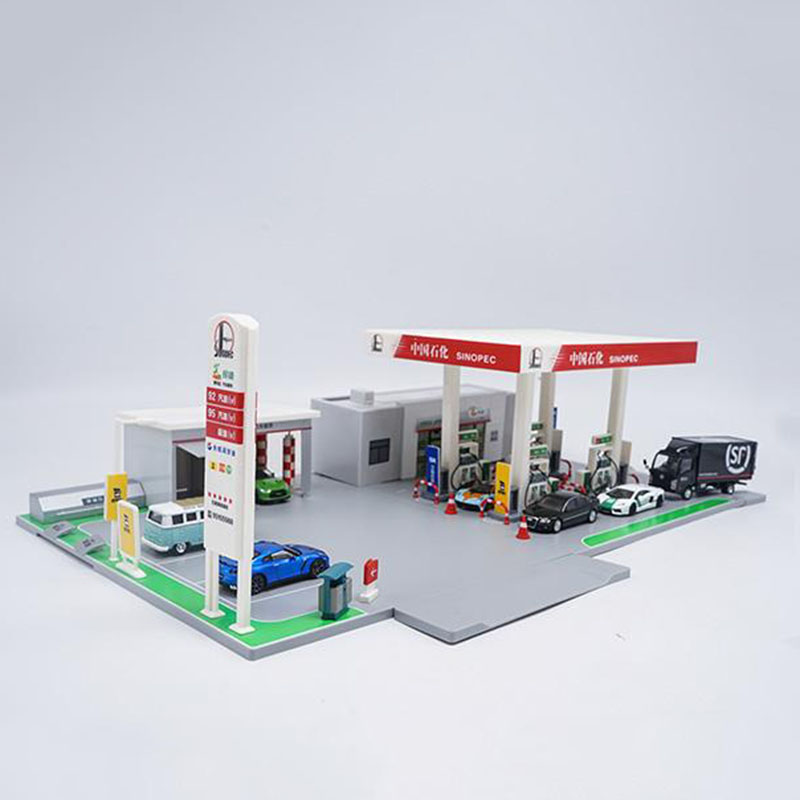 1/64 Scale Alloy Car Model Gulf Petrol Gas Station Scene Simulation Model Toy Gift Accessories Set Station Decoration Display