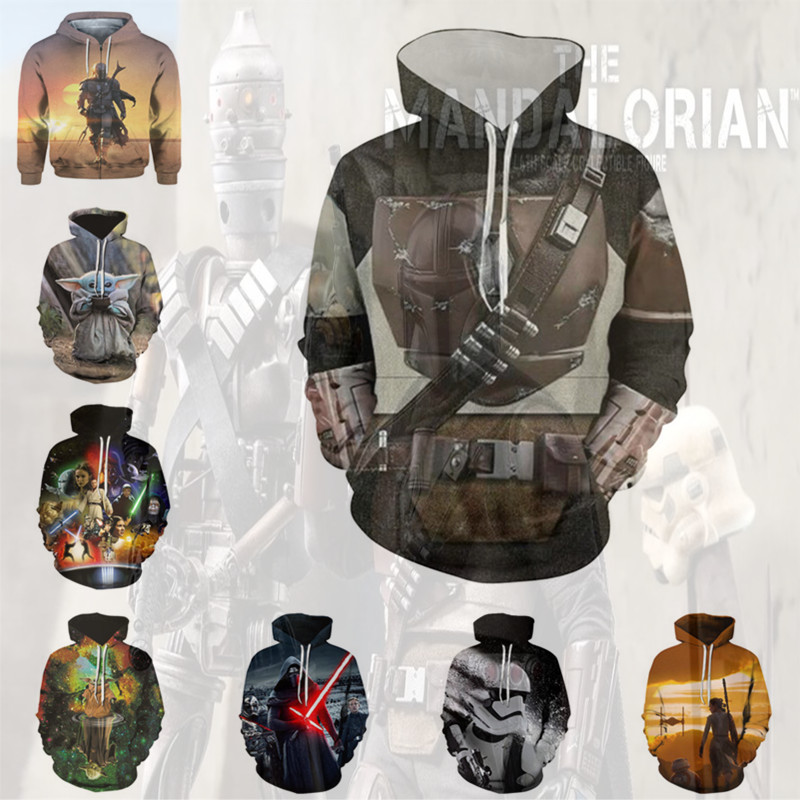 Star Wars Movie The Mandalorian Sweatshirts Hoodie Cosplay Costume Anime Jackets Zipper Top And Latex Mask
