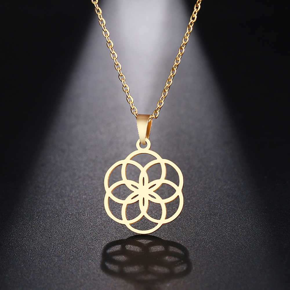 DOTIFI  Stainless Steel Necklace For Women Man Round Circle Designed Geometric Pendant Necklace Engagement Jewelry
