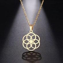 DOTIFI, ожерелье из нержавеющей стали для женщин и мужчин, Круглый Круг, дизайнерское геометрическое ожерелье с подвеской, ювелирные изделия д...