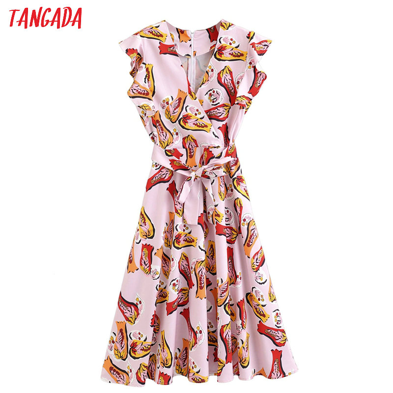 Tangada Fashion Women Print Pink Midi Dress Ruffles V Neck Ruffles Short Sleeve Ladies Summer Chiffon Dress Vestidos 2F08