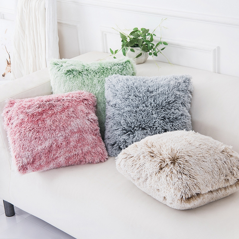 Soft Faux Fur Pillows Case Plush Cushion Cover Pink Blue Purple Warm Living Room Bedroom Sofa Decorative Pillows Cover 43x43cm