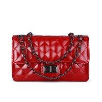 2019 New Style Korean style Patent Leather Cowhide Rhombus Chain Bag Genuine Leather Gel Bag Fashion Single shoulder Crossbody B