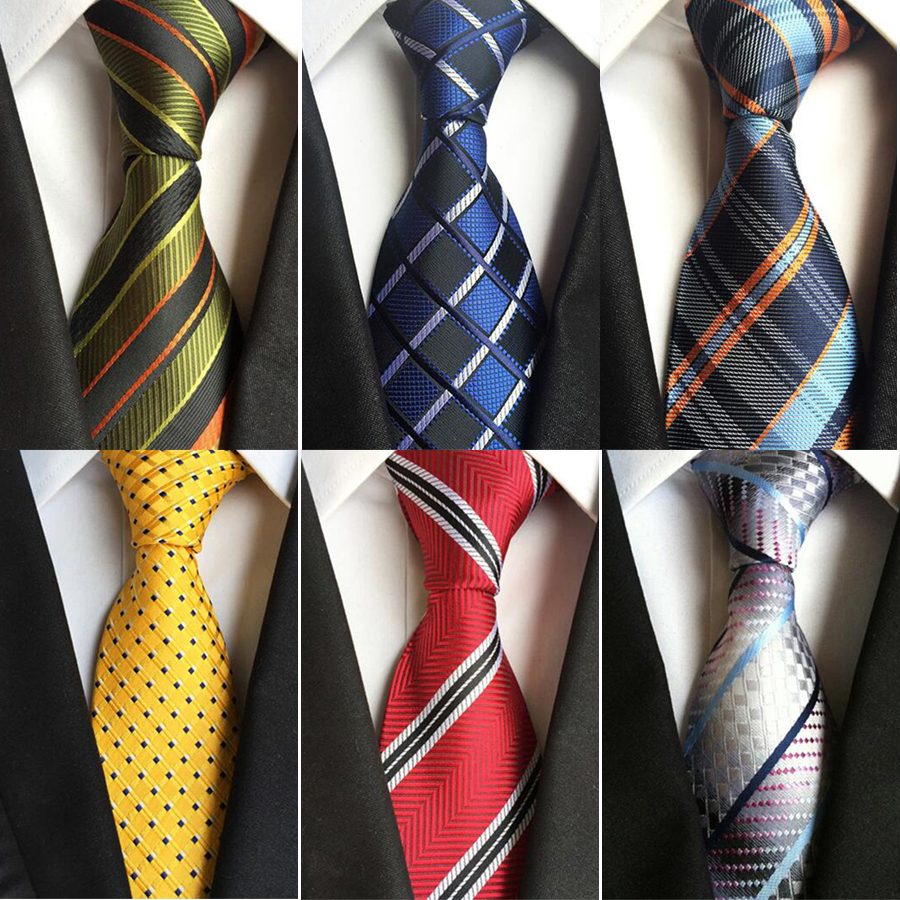 Ricnais Fashion 8cm Silke Men's Tie Red Yellow Striped Plaid Jacquard Necktie Suit Men Business Wedding Party Foamal Neck Ties