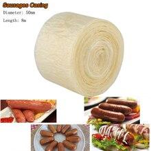 50mm 8m Edible Sausage Casings Packaging Pork Intestine For Sausage Tube Casing for Sausage Hot Dog Hamburger Sausage Tools tom s sausage lion