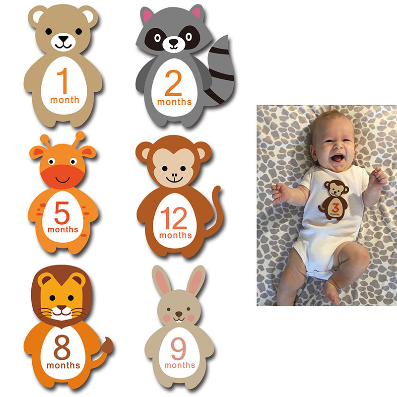 12Pcs Month Sticker Baby Photography Commemorative Card Number Milestone Memorial Sticker Newborn Baby Photo Props Accessories Stickers  - AliExpress