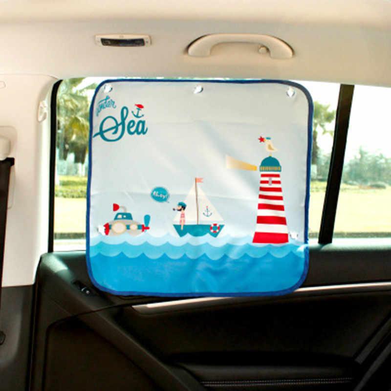 1Pcs Car Sun Shade UV ป้องกันผ้าม่านรถยนต์รถหน้าต่างบังแดดหน้าต่างด้านข้างตาข่ายดวงอาทิตย์ Visor ฤดูร้อนป้องกันหน้าต่างฟิล์มใหม่