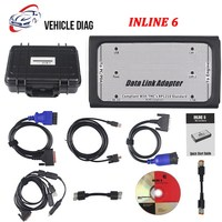 INLINE 6 Data Link Adapter Heavy Duty Diagnostic Tool Truck Scanner with 8 Cables Inline 5 Plastic Box DHL Free Shipping