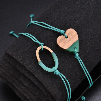 Simple Cute Green Rope Chain Bracelet for Women Charm Heart Cactus Round Bracelet Accessories as Sweet Wedding Jewelry Gift