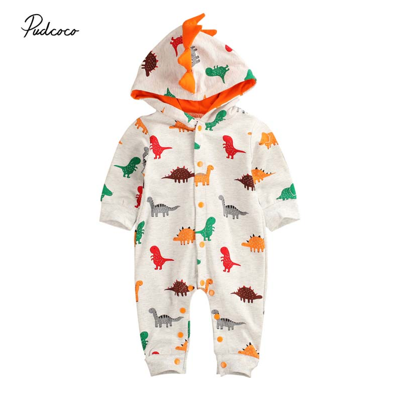Весна Осень 2020; Одежда для малышей; Костюм для скалолазания с разноцветными динозаврами для маленьких мальчиков и девочек; Комбинезон с длинными рукавами; Одежда с капюшоном|Ромперы|   | АлиЭкспресс