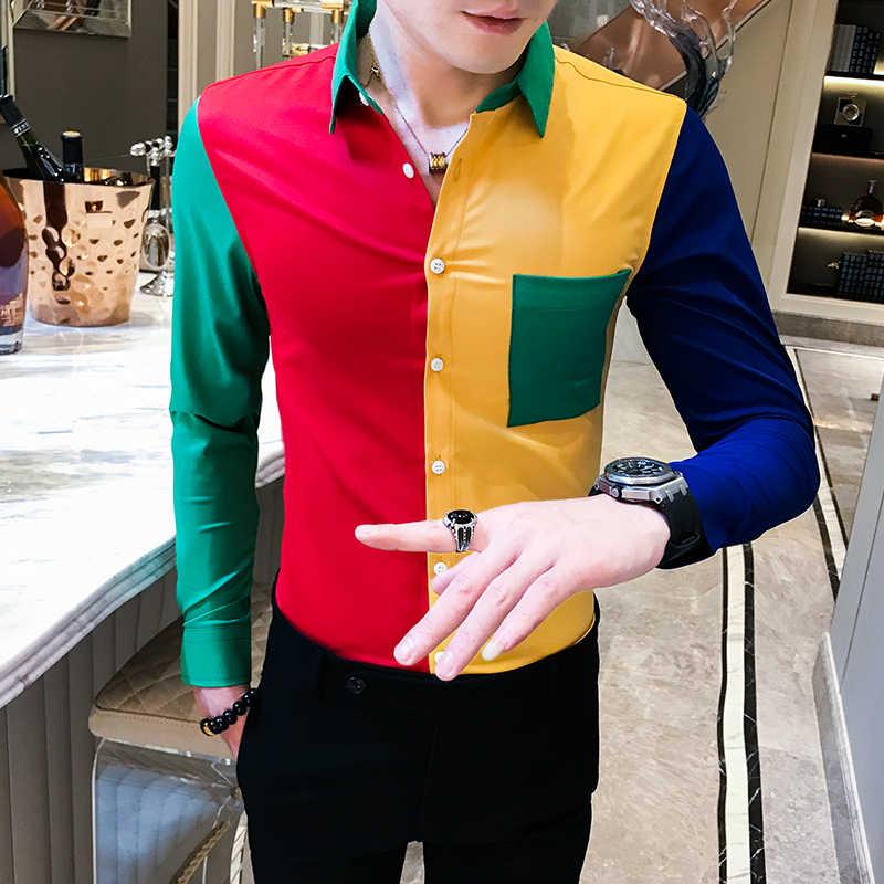 Moda koszula męska kontrastowe kolory Slim Fit z długim rękawem koszule dla mężczyzn koreański modne ubrania Patchwork klub nocny koszulka homme