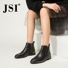 JSI Ankle Women Boots Genuine Leather Round Toe Winter Solid Low Heel Shoes Square Heel Zip Handmade Women Chelsea Boots JC424