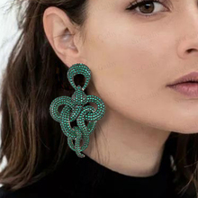 SISCATHY Unieke Ontwerp Twist verklaring Snake Earring Afrikaanse Indiase Dubai Rusland Volledige CZ Noble Luxe Oorbellen voor Vrouwen Sieraden