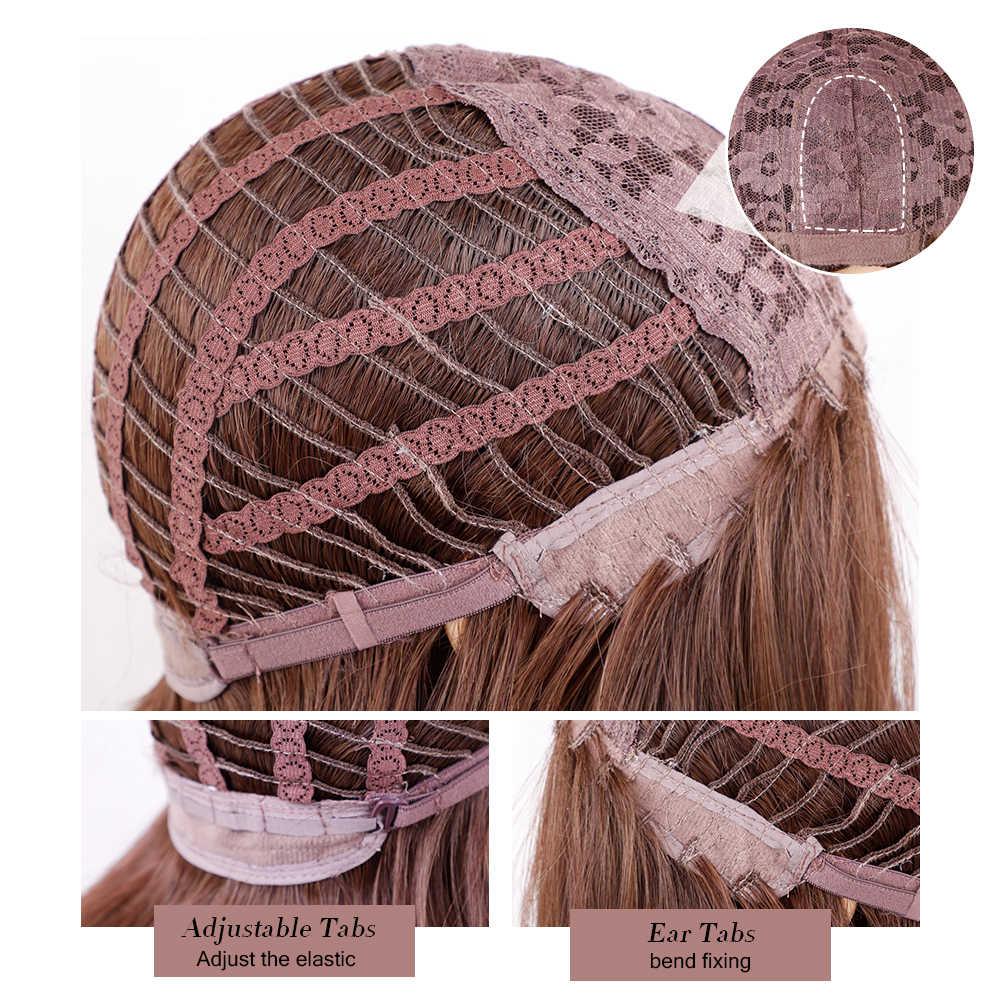 Loira unicórnio sintético bob perucas ombre marrom curto reta peruca com franja fibra resistente ao calor diário cosplay cabelo