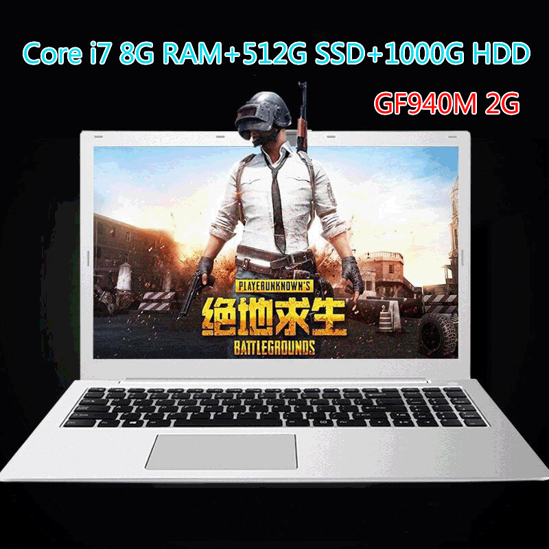 15.6-Inch Gaming Laptop Core I7 8G 512G SSD 1T HDD Laptop Ultra-Thin Business Office Student Laptop Gaming Netbook image