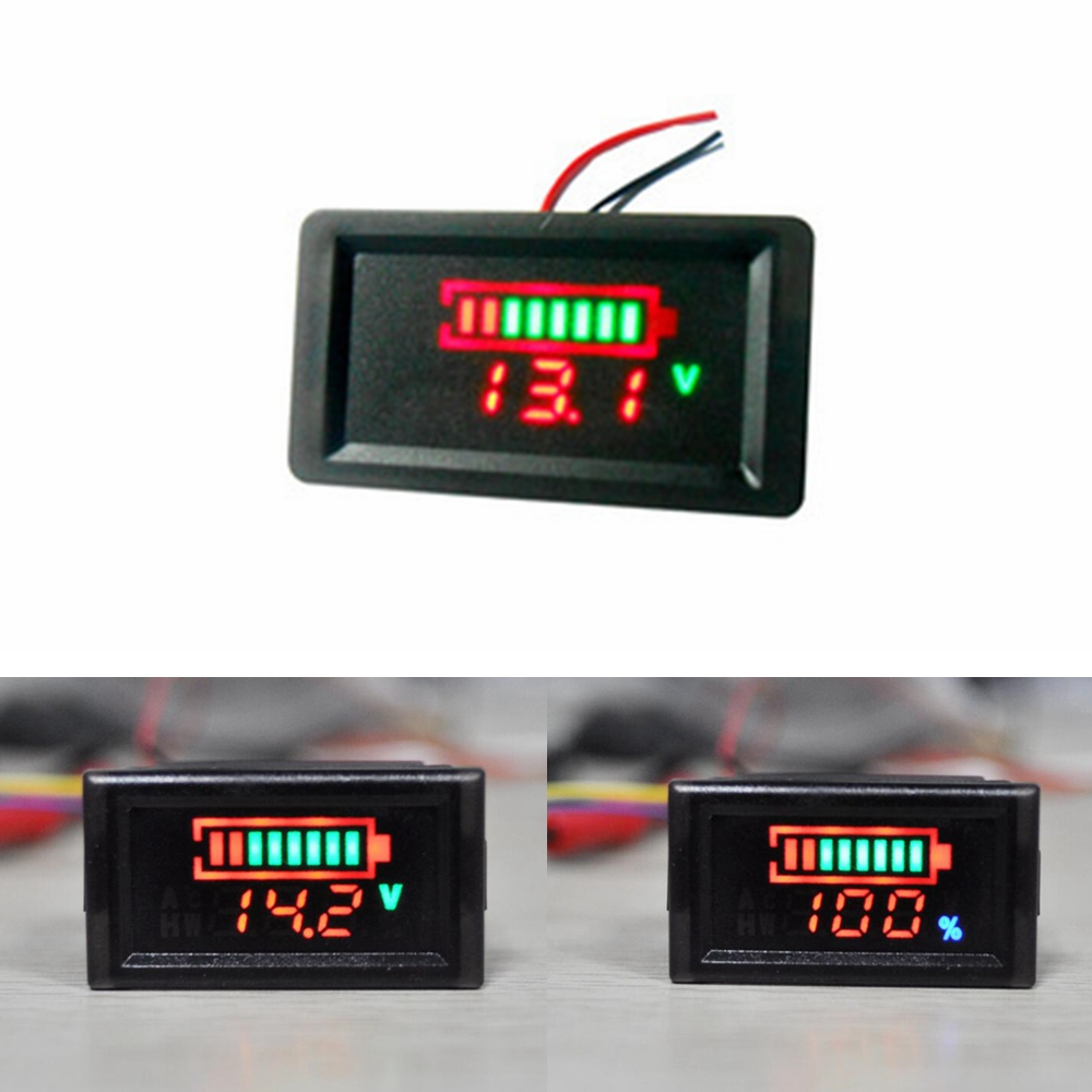 Waterproof Battery Tester Capacity Indicator LED Digital Voltage 12V 24V 36V 48V Lithium Lead Acid Batteries Voltmeter Meter