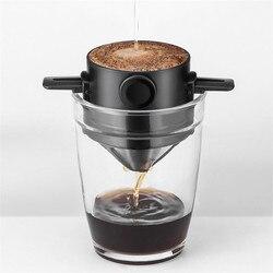Kopi Drip Filter Piala Portable Dapat Digunakan Kembali Tanpa Kertas Pour Over Coffee Dripper Lipat Pintar Cokelat Kehitaman Filter V60 Gaya