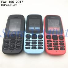 10 unids/lote para Nokia 105 2017 TA-1010 nueva funda de teléfono completa + bisel medio + teclado Inglés