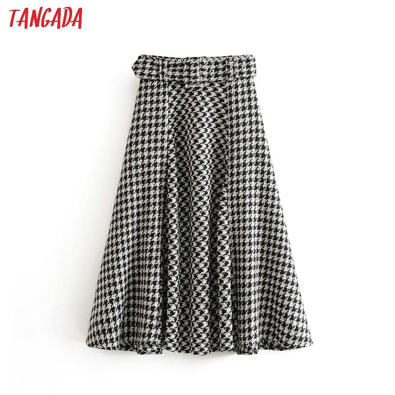 Tangada Female Plaid Midi Skirt With Belt Winter Elegant Office Ladies Fashion Thick A Line Skirts For Women Faldas Mujer SW05