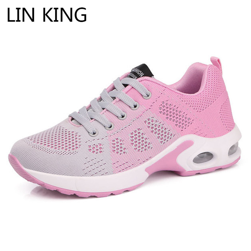LIN KING Fashion Air Cushion Women Vulcanized Shoes Lace Up Shallow Girls Outdoor Sneakers Female Wear-resisting Walking Shoes