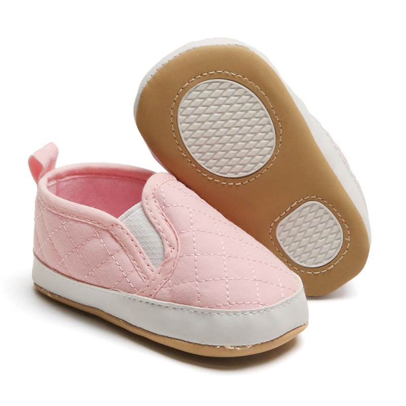 Infant Toddler Baby Solid Color Canvas Shoes Boy Girl Soft Sole Crib Shoes Sneaker Newborn Elastic First Walk Shoes Pink White