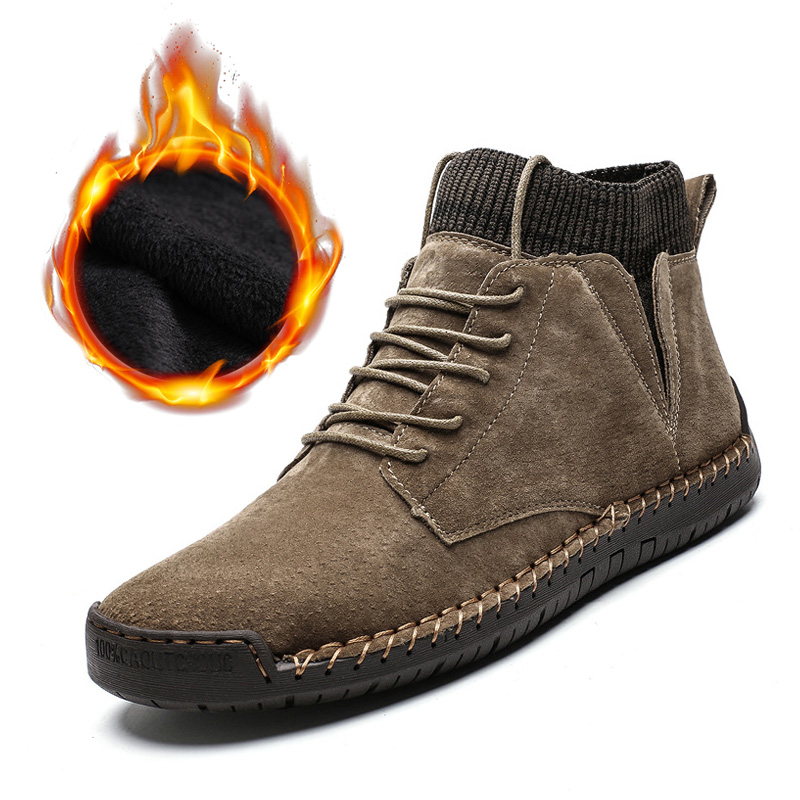2019 Genuine Leather Winter Shoes Men Suede Boots Warm Plush Cold Winter Mens Winter Boots Male Fashion Brand Ankle Boots A1719
