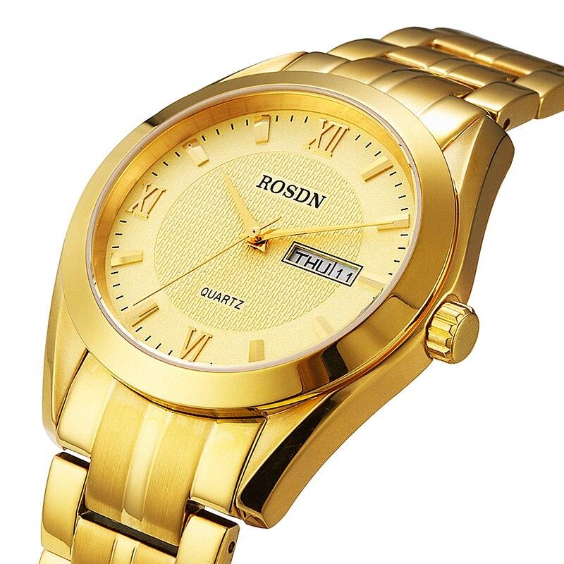Marque de luxe ROSDN Couple montres japon Quartz mouvement hommes montre 8 mm Ultra mince saphir étanche 18K or montres R3088M