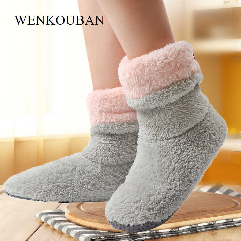 Ankle Boots For Women Warm Indoor Boots Winter Fur Home Shoes Female Indoor Flats Botines Mujer Plush Coral Fleece Floor Shoes
