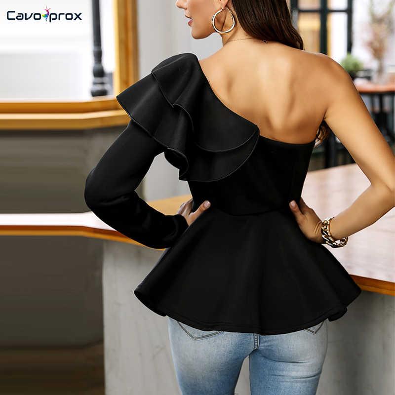 Women Falbala Plain Mid-Length Long Sleeve Blouse Skew Collar One Shoulder Falbala Sleeve  Office Lady Ruffles Sleeve Shirts