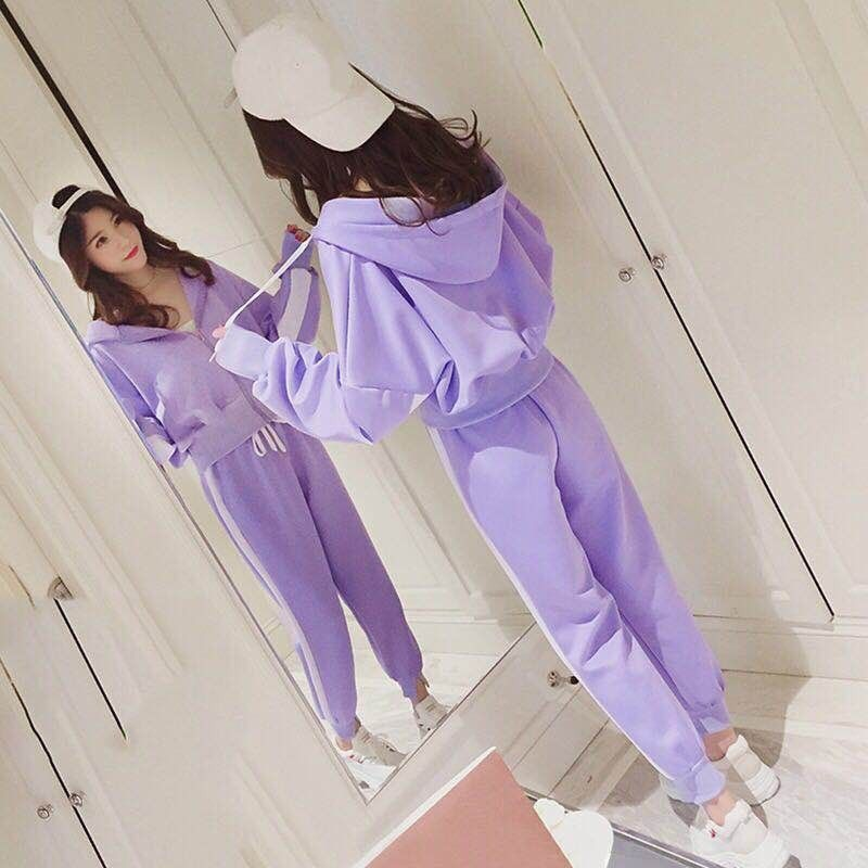 Spring Sweatshirt Leisure Set Purple Female Fashion Plus Size Loose Long-sleeved Sweater Two-piece Suit Running Women Sportswear