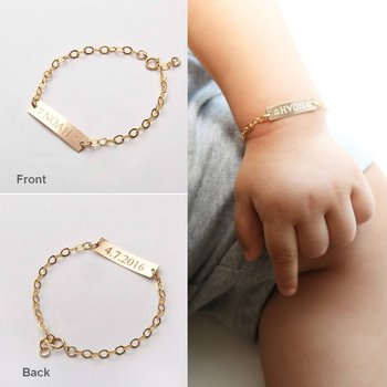 Newborn Baby Name Birth Date Of Year Bracelets Stainless Steel Free Children's Accessories New Mom Gifts Bague Femme BFF Trendy year of our birth