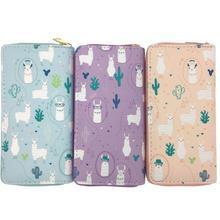 KANDRA Llama Leather Wallet Women Alpaca Long Zipper Purse Card Holder Minimalist Female Girls Travel Gift Clutch Bag