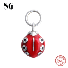 SG new arrivals fit authentic pandora charms bracelets 925 sterling silver beads red enamel beetle animal diy jewlry 2017